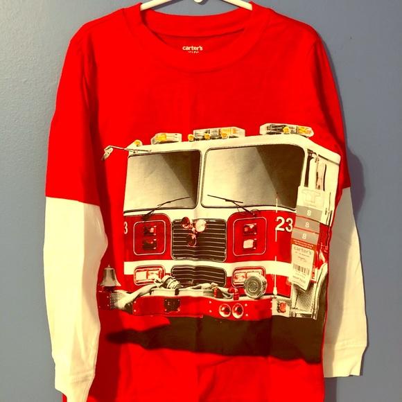 4T FIRE ENGINE TRUCK Long Sleeve Shirt Cotton Red NWT Boys Carter/'s 24 Months